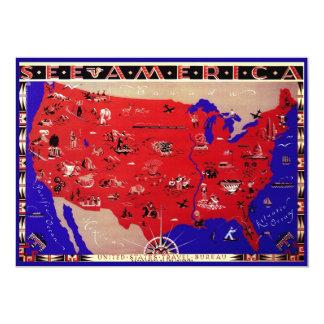 Antique Map United States of America Invitation