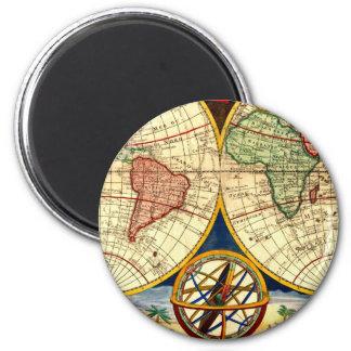Antique Map Vintage World Globe Art Magnet Gift