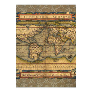 Antique Map World Travel Continents Magnetic Invitations