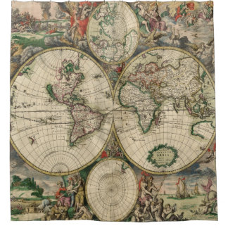 Antique Maps | Old World Vintage Maps Shower Curtain