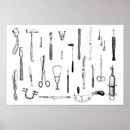 Antique medical instruments poster