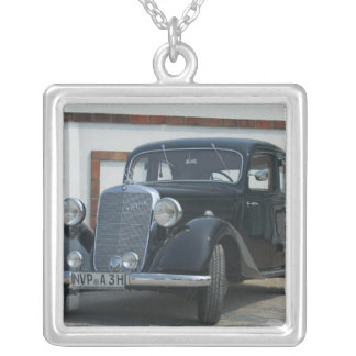 antique mercedes 3 silver plated necklace