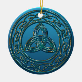 Antique Metal Celtic Trinity Knot In Blue Green Christmas Ornament