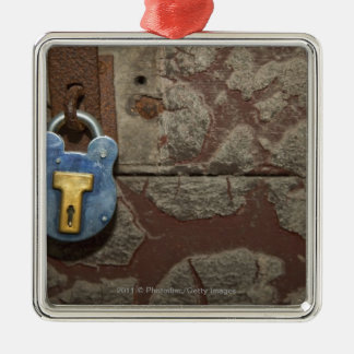 Antique Metal Lock on Stone Wall Christmas Ornament