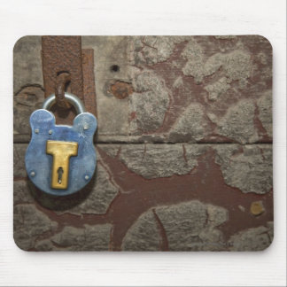 Antique Metal Lock on Stone Wall Mouse Pad