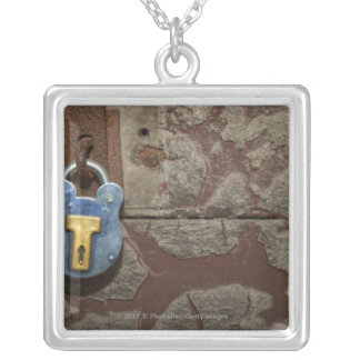 Antique Metal Lock on Stone Wall Silver Plated Necklace