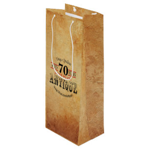 Antique Milestone 70th Birthday Wine Gift Bag