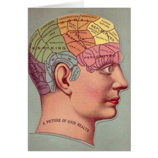 antique Mind Brain Map Phrenology head Greeting Card