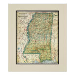 Antique Mississippi Map Poster