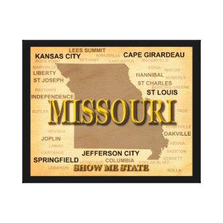 Antique Missouri State Pride Map Silhouette Canvas Print