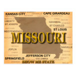 Antique Missouri State Pride Map Silhouette Post Cards