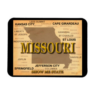Antique Missouri State Pride Map Silhouette Rectangle Magnets