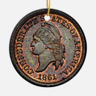 Antique Money 1861 Copper Confederate Penny Christmas Ornament