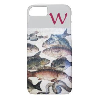 ANTIQUE MOSAIC FISHES,OCEAN SEA LIFE MONOGRAM iPhone 7 CASE