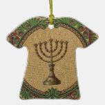 Antique Mosaic Temple Menorah Christmas Ornament