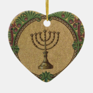 Antique Mosaic Temple Menorah Christmas Ornament