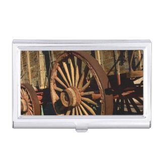 Antique mule train wagon business card holder