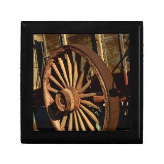 Antique mule train wagon small square gift box