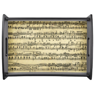 Antique music notes score serving tray