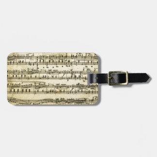 Antique Music Score Sheet Luggage Tag