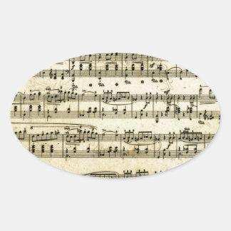 Antique Music Score Sheet Oval Sticker