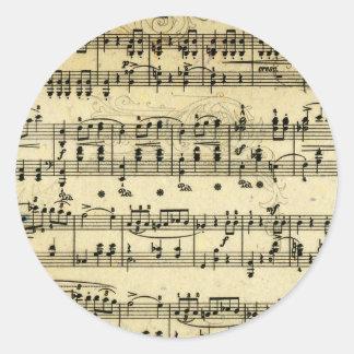 Antique Music score Classic Round Sticker