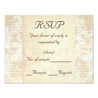 Antique Music Sheet RSVP Card Template 11 Cm X 14 Cm Invitation Card