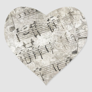 Antique Musical Notes and Keys Design Heart Sticker