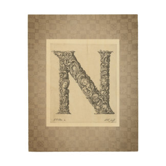 "Antique ""N"" Initial Wood Wall Art"