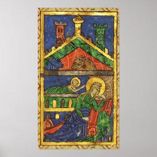 ANTIQUE NATIVITY CHRISTMAS PARCHMENT POSTER