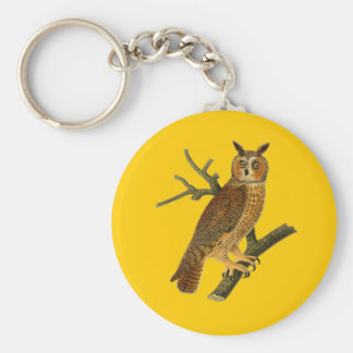 Antique Natural History Owl Illustration Basic Round Button Key Ring