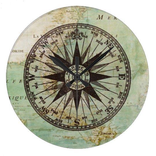 Antique Nautical Compass Amp Map Clock Zazzle Co Uk