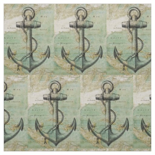 Antique Nautical Map & Anchor Fabric by the