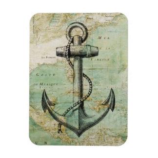 Antique Nautical Map & Anchor Magnet