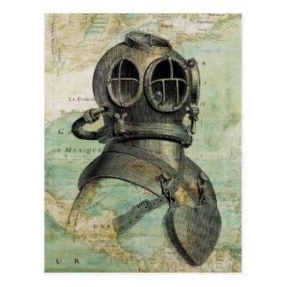 Antique Nautical Map & Dive Helmet Postcard