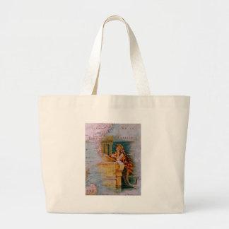 Antique Nautical Map Mermaid Canvas Bags