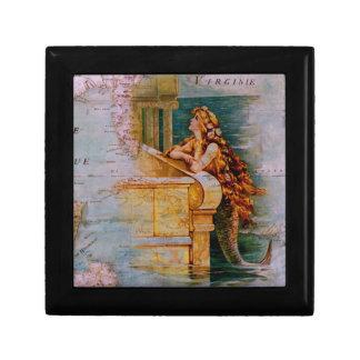 Antique Nautical Map & Mermaid Gift Box