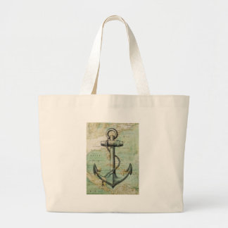 Antique Nautical Map with Anchor Canvas Bags