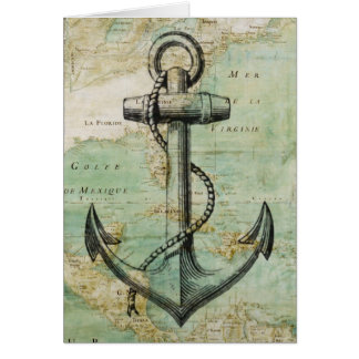 Antique Nautical Map with Anchor Card