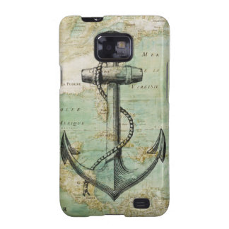 Antique Nautical Map with Anchor Samsung Galaxy S2 Cases