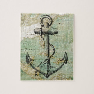 Antique Nautical Map with Anchor Jigsaw Puzzle