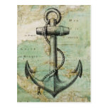 Antique Nautical Map with Anchor Postcards