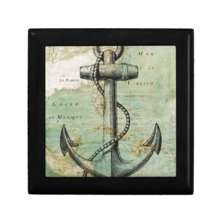 Antique Nautical Map with Anchor Small Square Gift Box