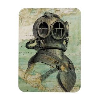 Antique Nautical Map with Dive Helmet Magnet