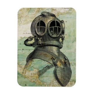 Antique Nautical Map with Dive Helmet Magnet