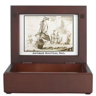Antique Nautical Sail Memory Box