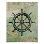Antique Nautical Ships Wheel & Map Poster