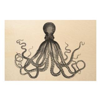 Antique Nautical Steampunk Octopus Vintage Kraken Wood Print
