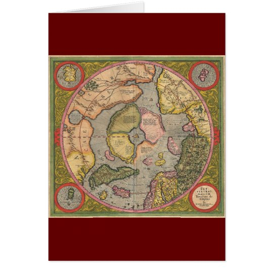 Antique North Pole Map Card