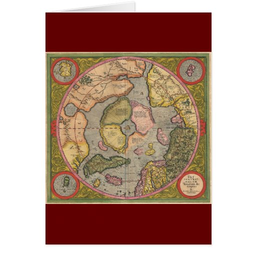 Antique North Pole Map Greeting Card